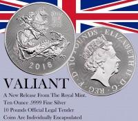 "10 oz Silber Royal Mint  "" Valiant / Tapferkeit 2018 1te Ausgabe "" in Kapsel ( diff.besteuert nach §25a UStG ) - United Kingdom"