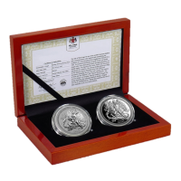 "2 x 1 oz Silber Isle of man Reverse Proof "" Angel Set PU & Reverse Proof "" 2018 in Kapsel - max. Auflage 500 inkl. Box / COA ( diff.besteuert nach §25a UStG )"