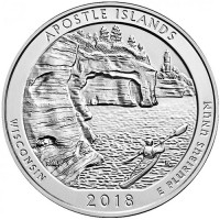 "5 oz Silber USA "" America the beautiful "" Wisconsin "" Apostle Islands ( diff.besteuert nach §25a UStG )"