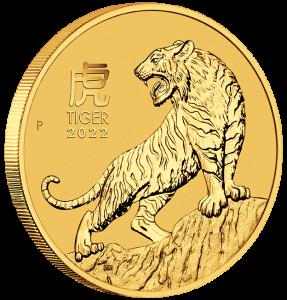 """1/4 oz Gold Perth Mint """" Lunar Tiger III 2022 """" in Kapsel"""