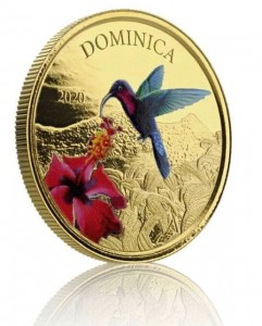 1 oz Gold Proof-colored Dominica Hummingbird 2020 Scottsdale Mint / in Box ( Auflage 100 )