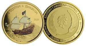 1 oz Gold Proof-colored Antigua & Barbuda Rum Runner 2020 Scottsdale Mint / in Box ( Auflage 100 )