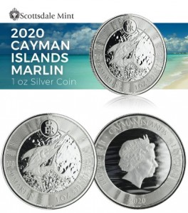 "1 oz Silber Cayman Islands "" Blue Marlin 2020 "" Scottsdale Mint ( diff.besteuert nach §25a UStG )"