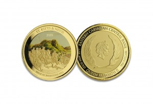 1 oz Gold Proof-colored St. Kitts & Nevis Brimstone Hill 2020 Scottsdale Mint / in Box ( Auflage 100 )