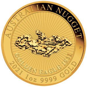 """1 oz Gold """" Golden Eagle - Nugget """" Perth Mint 2021 in Kapsel - max 7.500"""
