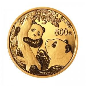 30 Gramm Gold Panda 2021 in Folie - 500 Yuan