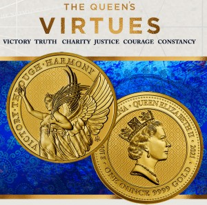 """1 oz Gold St. Helena The Queen's Virtues """" Victory """" inkl. Kapsel"""