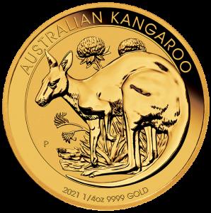 1/4 oz Gold Känguru 2021 in Kapsel