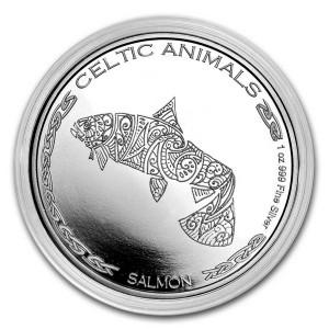 1 oz Silber Chad 2021 Celtic Animals Series Salmon / Lachs - max. Mintage 5.000 ( diff.besteuert nach §25a UStG )