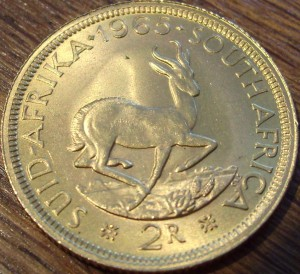 0.235 oz Gold - 2 Rand Südafrika ( 7,32 Gramm Gold fein )
