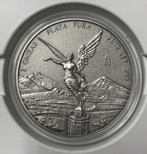 2 oz Silber Libertad Mexiko 2019 Antique Finish ( diff.besteuert nach §25a UStG )