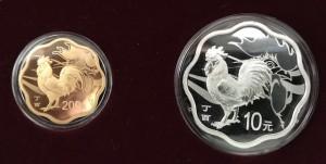 "15 Gramm Gold & 30 Gramm Silber China Blossom Set "" Rooster "" inkl. Box/COA"