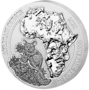 1 oz Silber Ruanda Bushbaby in Folie ( diff.besteuert nach §25a UStG )