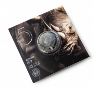 """1 oz Silber Rhino / Nashorn in Blister """" Big Five """" South African Mint - max 15.000 ( diff.besteuert nach §25a UStG )"""