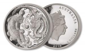 2 oz Silber High Relief Proof Australien Perth Mint Dragon & Tiger - max. 1.500 Stk ( diff.besteuert nach §25a UStG )