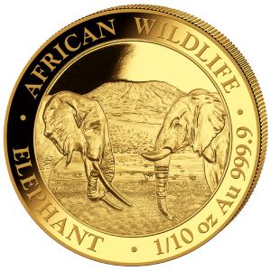 1/10 oz Gold Somalia Elefant 2020
