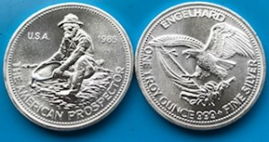 """1 oz Silber Rounds """" Prospector """" Engelhard USA 1980iger Jahre / ggf. altersbedingt leicht oxidiert / Hairlines  ( inkl. gültiger gesetzl. Mwst )"""