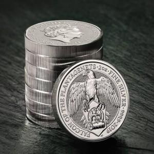 "2 oz Silber Royal Mint / United Kingdom "" Falcon of the Plantagenets "" ( diff.besteuert nach §25a UStG )"