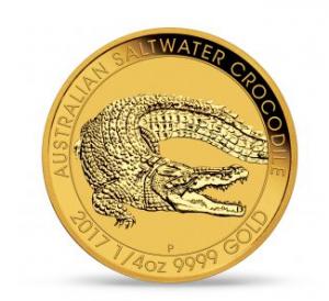 "1/4 oz Gold Perth Mint "" Saltwater Crocodile 2017 "" in Kapsel"