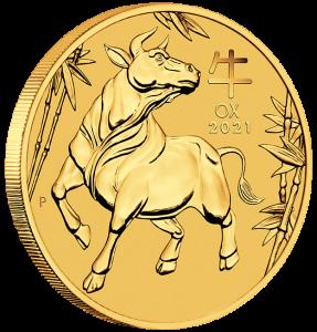 1/4 oz Gold Perth Mint Lunar III Ochse 2021 in Kapsel