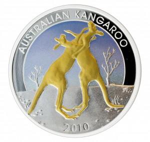 1 oz Silber Perth Mint Gilded Proof Kangaroo 2010 ( inkl. gültiger gesetzl. Mwst )
