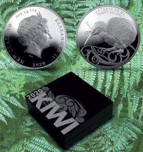 1 Kilogramm Neuseeland Silber Kiwi High Relief 2020 in Kapsel / Box - max. 100 Stk ( diff.besteuert nach §25a UStG )