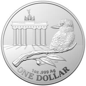 1 oz Silber Royal Australian Mint Kookaburra / Brandenburger Tor / WMF Berlin in Kapsel - max. 5.000 Stk ( diff.besteuert nach §25a UStG )