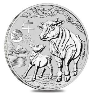 1 oz Silber Perth Mint Lunar Ochse 2021 with Dragon in Kapsel - max. Auflage 30.000 ( diff.besteuert nach §25a UStG )