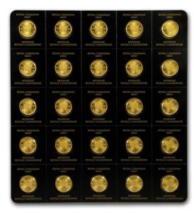 25 X 1 Gramm Gold Maple Leaf ( Maplegram ) 2021 im Blister