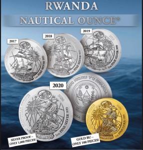 "1 oz Silber Ruanda 2020 "" Mayflower "" BU in Folie"