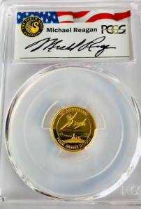 """1/10 oz Proof Gold Perth Mint """" Zero Fighters / Pearl Harbour """" in Slab PR70 ( Reagan Legacy Series )"""