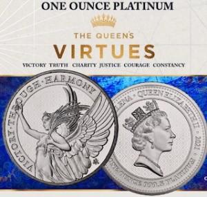 "1 oz Platin St. Helena Queen's Virtues "" Victory ""  ( diff.besteuert nach §25a UStG )"