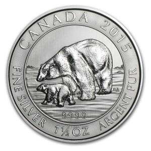 1,5 oz Silber Canada Polarbär mit Jungtier ( diff.besteuert nach §25a UStG )