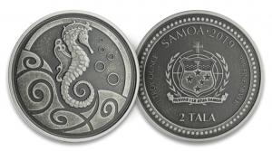 """1 oz Silber Antique Finish Samoa 2019  """" Seahorse / Seepferdchen """" zweite Ausgabe in Kapsel - max. Mintage 10.000 ( diff.besteuert nach §25a UStG )"""