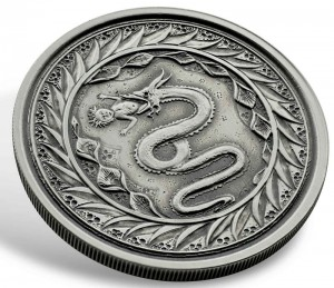"1 oz Silber Samoa Antique Finish "" Serpent of Milan "" Scottsdale Mint / in Kapsel - max 2.000 ( diff.besteuert nach §25a UStG )"