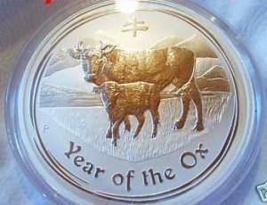 """1 Kilogramm / 1000 Gramm Silber Australien """" Lunar Ochse 2009 """" in Kapsel ( diff.besteuert nach §25a UStG )"""