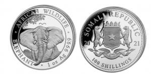 1 oz Silber Somalia Elefant 2021 ( diff.besteuert nach §25a UStG )