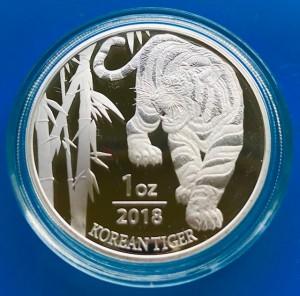 """1 oz Silber Korea """" Tiger """" in Kapsel 2018 1te Ausgabe - max Auflage 30.000"""