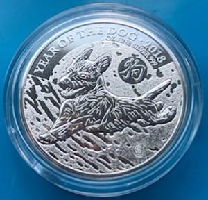 """1 oz Silber UK """" Lunar Hund / Dog """" in Kapsel - max. Auflage 138.888 ( diff.besteuert nach §25a UStG )"""