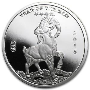 """1/2 oz Silber """" Round """" Lunar Ziege 2015 - inkl. gültiger gesetzl. Mwst"""