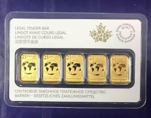 "5 X 1/10 oz Gold Canada "" legal tender bars "" im Blister = 0,5 oz Gold"