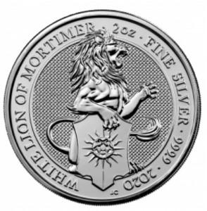 "2 oz Silber Royal Mint / United Kingdom "" White Lion of Mortimer "" ( diff.besteuert nach §25a UStG )"