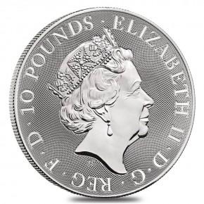 """10 oz Silber Royal Mint / Queen's Beast """" Black Bull """" in Kapsel ( diff.besteuert nach §25a UStG )"""