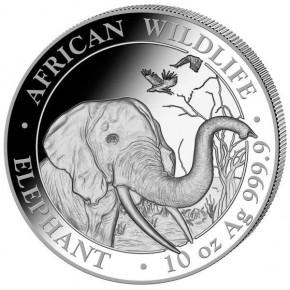 10 oz Silber Somalia Elefant 2018 in Kapsel ( diff.besteuert nach §25a UStG )