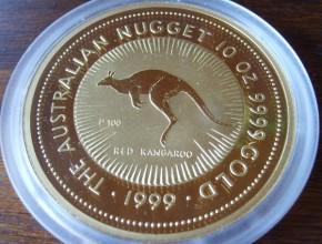 10 oz Gold Nugget / Känguru 1991 in Kapsel - 2500 AUS-$ Nennwert