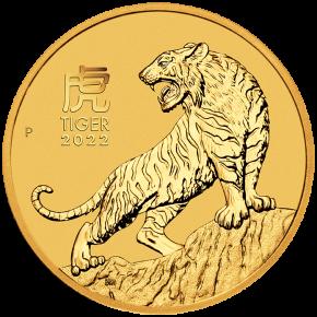 """1/2 oz Gold Perth Mint """" Lunar Tiger III 2022 """" in Kapsel"""