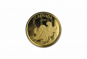 1 oz Gold BU Grenada Octopus 2020 Scottsdale Mint / in Blister ( Auflage 2.500 )