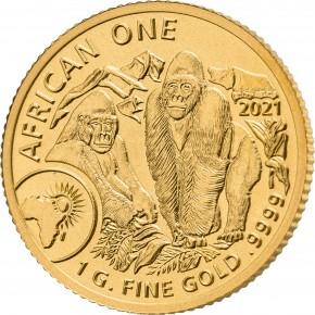 1 Gramm Gold Ruanda Berggorilla Double sealed in Kapsel und Folie