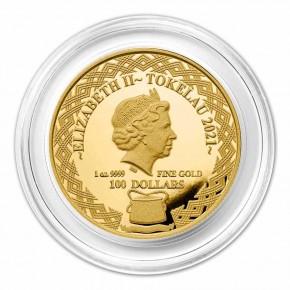 """1 oz Gold Tokelau """" Porcupinefish / Igelfisch """" ( max 100 Stk )"""
