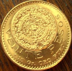 0,4823 oz Gold - 20 Mex. Pesos Aztekenkalender  ( 15 Gramm Gold fein )